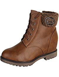 Authentic Vogue Women's Ankle- Length Wedge Heel Designer Leather Boots