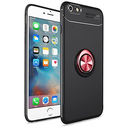 BtDuck iPhone 6S Plus Hülle Schwarz, Soft Ultra Slim Matt Dünn Silikon Hülle für iPhone 6S Plus mit Metall Ring Handyhalterung Auto Magnet Ständer Smartphone Halter Ständer Ringhalter Hülle