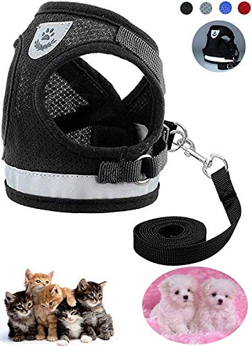 Z ZHIZU Hundegeschirr Reflektierend atmungsaktiv für große, mittelgroße, Mittlere & Kleine Hunde Geschirr Hund Katze Brustgeschirr Dog Harness (S, Reflektierend Schwarz)