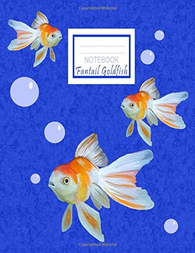 Fantail Goldfish Notebook: Fancy Goldfish and Bubbles (Composition Book, Journal) (8.5 x 11 Large) -