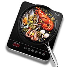 Aobosi induction Hob, Induction Cooker Portable 2000W, Ceramic Glass Plate with LED Display Electric Hob Portable, Sensor Touch Control, Timer
