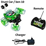 Koven Toy Rechargeable Ben 10 Plastic Stunt Car With Remote Control (Green)