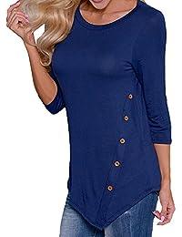 7a7dd129dc8b Scothen Damen O-Ausschnitt Tunika Übergröße Frauen Ausgestelltes Langes Top  Lose Asymmetrisch Sweatshirt Bluse Oberteile
