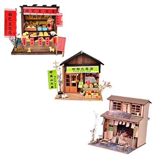 F Fityle 3 Stücke 1/24 DIY Chinesische Puppenhaus Miniatur Restaurant Kuchen Dollhouse Minipuppen Haus Jungen Mädchen Geschenk