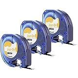 Anycolor 3X LT-Stoffetiketten kompatibel Dymo 18768 S0718840 S0718850 LT-Etiketten aufbügelbar für LetraTag-Drucker 12 mm x 2 m schwarzer Druck auf weißem Untergrund