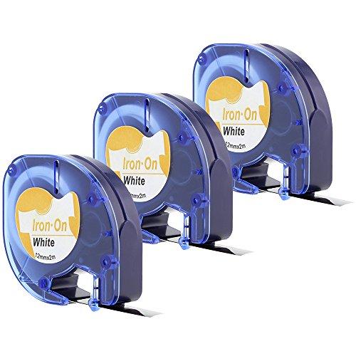 3x LT-Stoffetiketten kompatibel Dymo 18768 S0718840 S0718850 LT-Etiketten aufbügelbar für LetraTag-Drucker 12 mm x 2 m schwarzer Druck auf weißem Untergrund