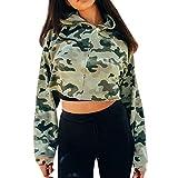 TianWlio Damen Hoodie Frauen Langarm Camouflage mit Kapuze beiläufigen Sweatshirt Hoodie Pullover