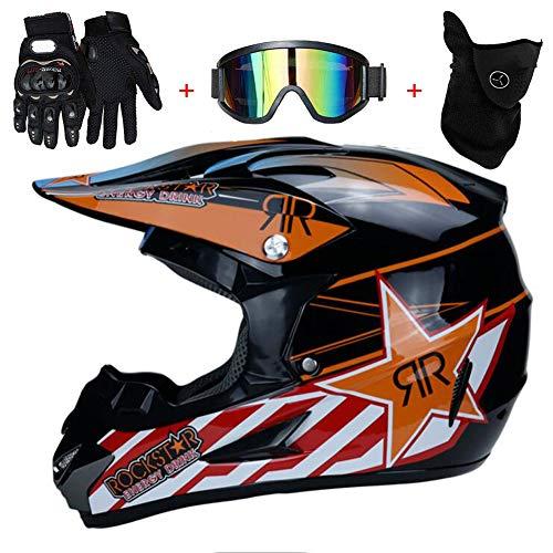 TKUI Motorrad Motocross Motorradhelme Integralhelm Sonnenschutzhelm & Windschutzmaske & Handschuhe & SCHUTZBRILLE D.O.T Standard Kinder Quad Bike ATV Go-Kart-Helm,Orange,S(52~53cm)