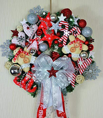 Exclusiver Türkranz Weihnachten Kranz Kunsttanne rot weiß Landhaus-Stil, Adventskranz