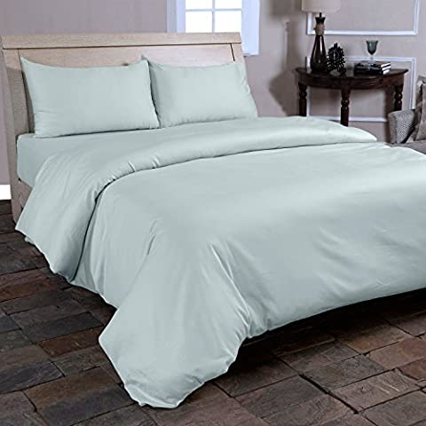 Homescapes King Size Duck Egg Blue Organic Cotton Duvet Cover Set Plain Dyed Percale 400 Thread Count with 100% Cotton Pillowcases Included