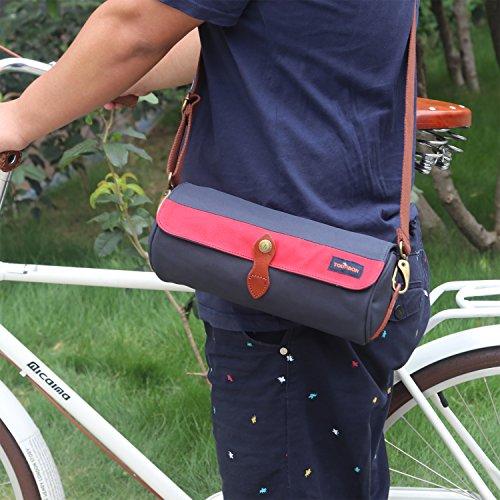 tourbon Leinwand Fahrrad Top Tube Tasche handbar tragen Korb-Marineblau Blau Marine