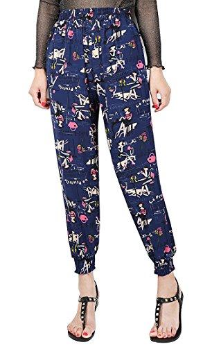 Honeystore Damen Lässige Baggy leichte Sommerhose Aladinhose Strandhose Drucken Chiffon Hosen mit Elastischer Taille Blau Damen XXL (Furstenberg Damen Diane Von Hose)
