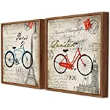 Art Street Blue & Red Cycle Tour London Paris Theme Framed Canvas Painting Set Of 2 Wall Art Print -13x13 Inchs
