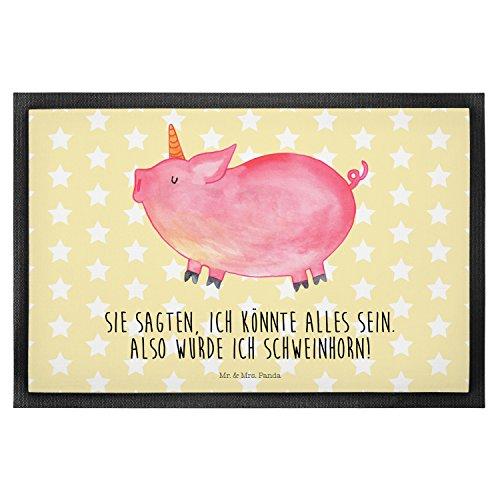 Mr. & Mrs. Panda 40 x 60 Fußmatte Einhorn Schweinhorn - Einhorn, Einhörner, Unicorn, Party, Spaß, Schwein, Schweinhorn, Bauer, witzig. lustig, Spruch, geschenk, Pig, Piggy, funny, english, englisch Fußmatte, Türvorleger, Schmutzmatte, Fussabtreter, Matte, Schmutzfänger