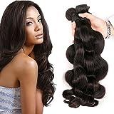 DAIMER Body Weave Brazilian Hair Echthaar Tressen 4 Bündel 8a Unverarbeitete Haar Remy Hair Extensions Haarverlängerung Echthaar Tressen Weavon Natural Color 18 20 22 24 Inches