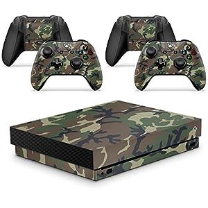 giZmoZ n gadgetZ GNG Xbox ONE X Konsolen-Gehäuseaufkleber, Motiv: Camo inklusive 2er-Set mit Aufklebern für Controller