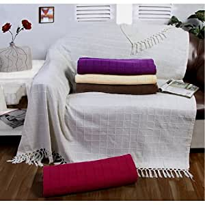 179 x 254 cm Cotton Batten Large 2 Seater Sofa/ Chair or Double Bed Throw, Ivory