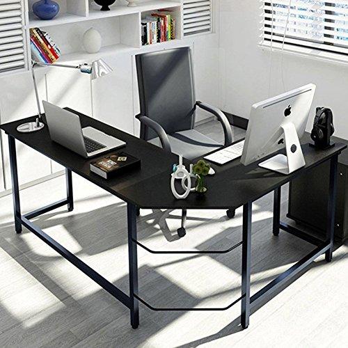 Tribesigns Eckschreibtisch Winkelkombination Schreibtisch Ecke , Gaming Schreibtisch PC Bürotisch Computertisch Arbeitstisch Winkelschreibtisch PC Tisch, - 148cm x 125cm x 74cm (Schwarz)