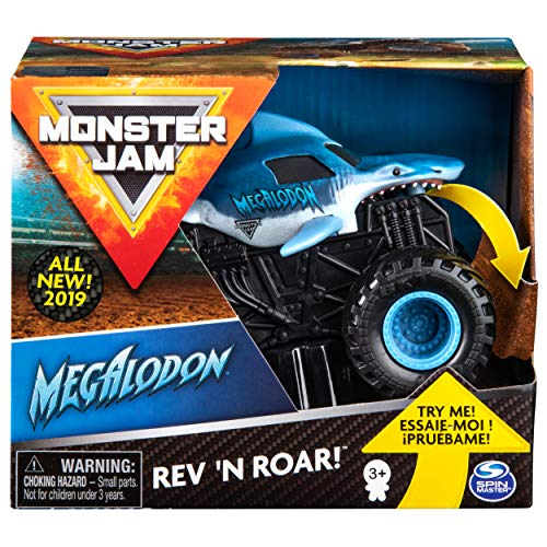 Monster Jam 6053251 Jam-6053251-Original Megalodon Rev 'N Roar Monster Truck mit Soundeffekt, Maßstab 1:43, Multicolour - Jam Kinder Monster