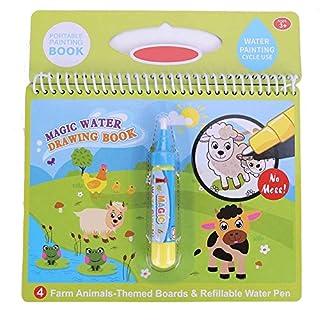 Zerodis Livre À Colorier, Dessin à Colorier Réutilisable de l'eau Magique Doodle avec Un Stylo Magique Cadeaux pour Les Enfants en Bas Age(Ferme)