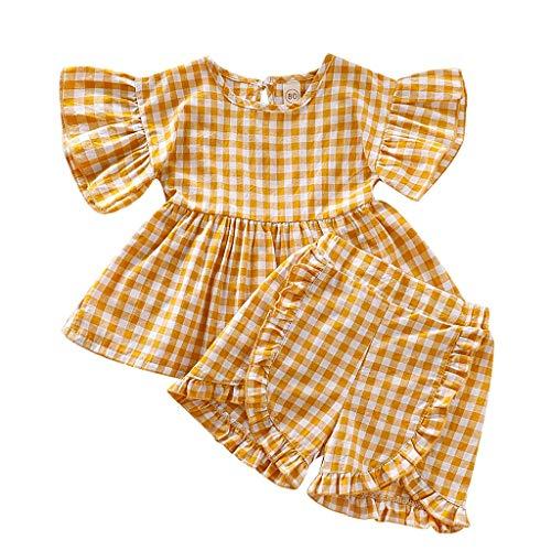 Julhold Kleinkind Kinder Baby Mädchen Nette Freizeit Rüschen Plaid Top Shorts 2 STÜCK Outfit Sets Kleidung 0-4 Jahre Neu (Baby Mädchen Kleidung Plaid)