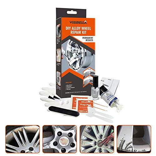Motto.H-Kit Ripara Cerchi in Lega Auto Elimina Ammaccature Rinnova Cerchioni,Kit di Riparazione Cerchioni in Alluminio, Speciale di Stucco per Cerchioni in Alluminio E Acciaio Cerchioni di Superficie