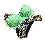DELEY Donne Push Up Bandeau Sexy Elegante Estate Spiaggia Bikini A Triangolo Costume Bagno Beachwear Verde Taglia M