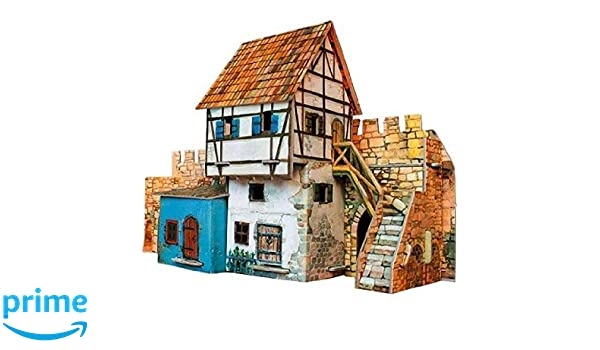 Cardboard Kit Medieval Wall House Model Clever Paper