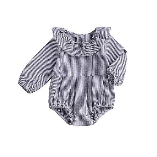 Wang-RX Neugeborenes Baby Mädchen Stripe Strampler Langarm Baby Mädchen Overall Overall Baby Mädchen Kleidung (Kostüm Spieler Mädchen Fußball)