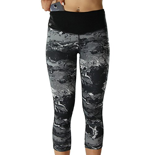Formbelt Damen Laufhose 3/4 leggings mit Handytasche für Sport Running Wandern Walking Fitness Marmor meliert bedruckt