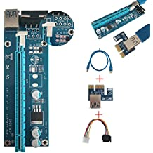 PCI-E Express 1 X auf 16 X Powered Riser Kabel 0,6 m USB3.0 SATA auf Molex 4-pin-Kit, GPU Adapter Karte Extender Kabel Building ethereum Mining Rig ETH Bergmann USB-Verlängerungskabel