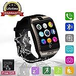 Bluetooth Smartwatch Touchscreen Kamera Intelligente Armbanduhr Sport Fitness Tracker Armband mit SIM Kartenslot/Schrittzähler /Schlafanalyse/SMS Facebook fur Android Smartphone Damen Herren (Q18)