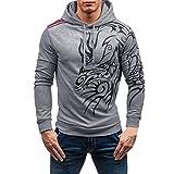 Sweatshirt Homme, Amlaiworld Automne hiver Tops imprimés Manches longues Sweat capuche Blouse (L, Gris)