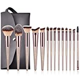 BESTOPE Make Up Pinsel Set mit Leder Tasche Pinselset Kosmetik 14 Stück Professionelles Kosmetikpinsel Schminkpinsel Kabuki Foundation Beauty Tools (Champaign Gold)