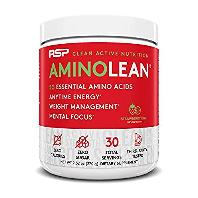 RSP Nutrition RSP Aminolean - Amino Energy + Fat Burner,Pre Workout,Amino Acids & Weight Loss Powder for Men & Women,Lemon Lime, 70 Servings from RSP Nutrition
