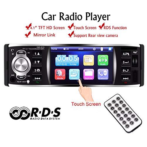 GOFORJUMP Autoradio-Autoradio 1 Din 12v 4,1-Zoll-Touchscreen Auto-Audio-Spiegel-Link RDS-Bluetooth-Autoradio (Screen Touch Auto Audio)