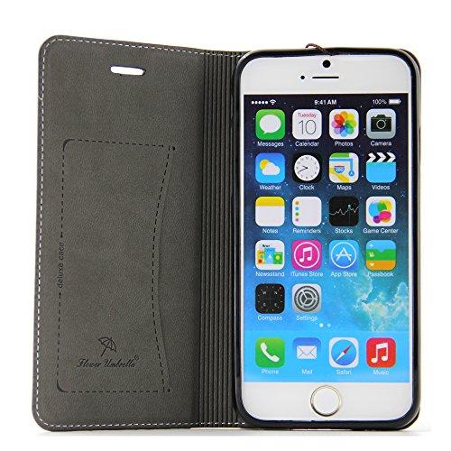 BELK-iPhone 6 Plus-Hülle (14 cm), elegant, hochqualitativ, aus echtem Leder, mit Brieftasche, Klappschutzhülle mit Standfuß + Bildschirmschutz, schwarz Black-6 plus
