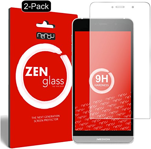 nandu I ZenGlass [2 Stück] Flexible Glas-Folie für Medion Life X5004 Panzerfolie I Bildschirm-Schutzfolie 9H