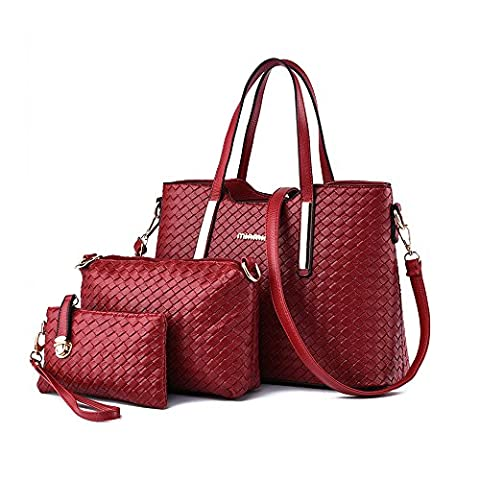 Ladies PU Leather Shoulder Bags Totes Handbags with Matching Wallet