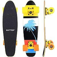 Baytter 22 Zoll Skateboard Komplett Board Mini-Cruiser aus 7-lagigem Ahornholz 57 x 15cm für Kinder, Jugendliche und Erwachsene mit ABEC-11 Kugellager und 95A Rollenhärte, 8 Farben wählbar