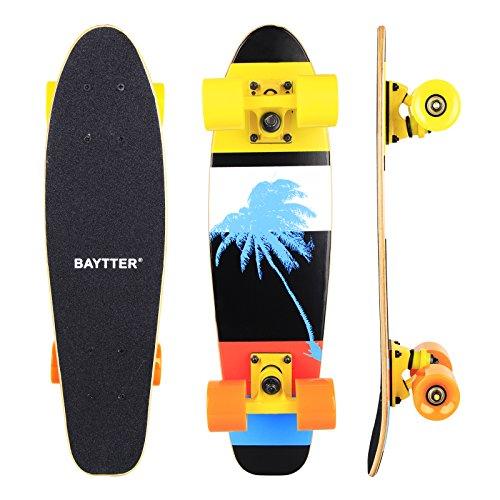 BAYTTER® 22 Zoll Skateboard Komplett Board Mini-Cruiser aus 7-lagigem Ahornholz 57 x 15cm für Kinder, Jugendliche und Erwachsene mit ABEC-11 Kugellager und 95A Rollenhärte, 5 Farben wählbar (bunt)