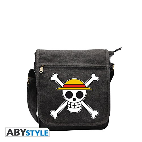 One Piece - Borsa tracolla con motivo del teschio con mappa - Messenger Bag pirata in canvas - 23 x 27 x 8cm - Grigio