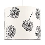 MiniSun – Moderner, dekorativer, und zylinderförmiger Lampenschirm mit einem schwarzen und cremefarbigen Motiv von die Silhouetten der Blumen – für Hänge- und Pendelleuchte