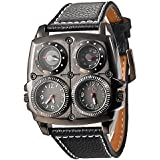 QBD Men's Large Watch. Dual Time Zones, Compass, Thermometer - Big 5cm Multi-Function Dial - Long 16-22cm Black Genuine Leather Strap (Square Black)