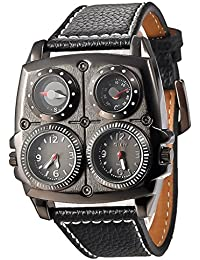 QBD Oulm Men's Large Watch. Dual Time Zones, Compass, Thermometer - Big 5cm Multi-Function Dial - Long 16-22cm Black Genuine Leather Strap (Square Black)