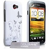 HTC One S Tasche Wei� Schmetterling Harte Hülle Mit Displayschutz