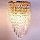 Wenrun Lighting E14 Modern K9 Kristall Golden Spiegel Edelstahl Wandleuchten Wandlampe für Flur Treppe Übernachtung Leuchte Lampen Licht Mit Schalter (W18cm x H31cm(Gold))
