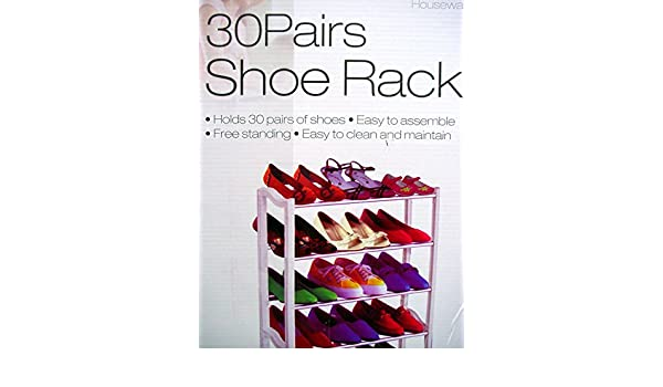30 pair shoe rack free standing strong easy to assemble white plastic u0026 metal amazoncouk diy u0026 tools