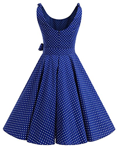 Bbonlinedress 1950er Vintage Polka Dots Pinup Retro Rockabilly Kleid Cocktailkleider Blue White Dot XL - 3
