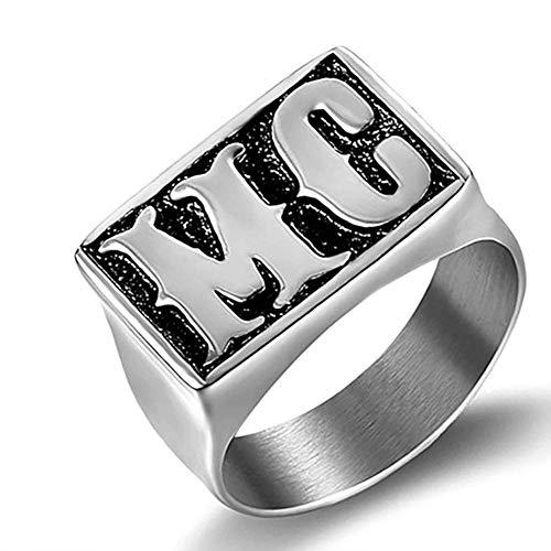 Anillo punk para hombre de acero inoxidable, anillo de metal con letras HD motor, anillo de motorista para hombres Hip Hop MC